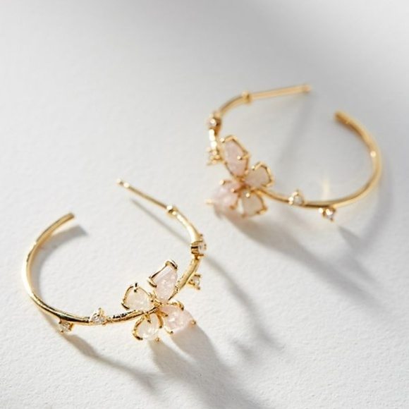 9b484e85799ca Anthropologie Floating Butterfly Hoop Earrings NWT